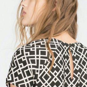 ZARA Black & White Geo Print Shift Dress